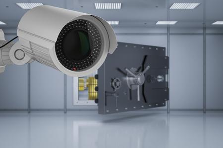 3d rendering security camera in bank safe room
