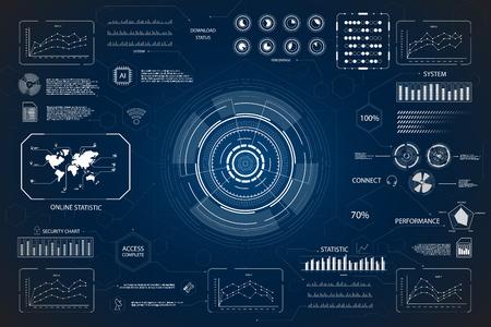 hud interface or technology graphic display on blue background vector illustration Vektorové ilustrace