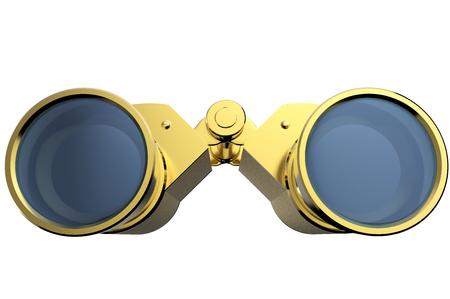 3d rendering gold binoculars isolated on white background Foto de archivo - 116775887