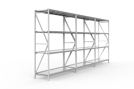 3d rendering empty warehouse rack on white background Banque d'images