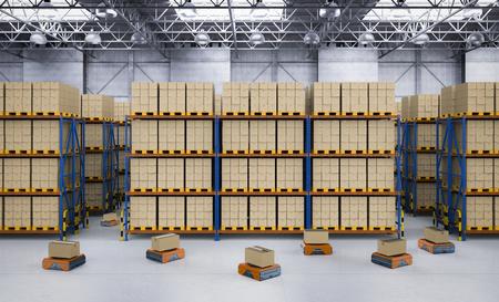 3d rendering warehouse robot working in factory