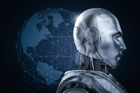 Globalization technology concept with 3d rendering humanoid robot with world graphic display
