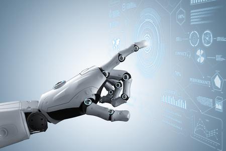 3d rendering robot hand with graphic display Reklamní fotografie