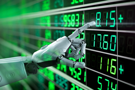 Financial technology concept with 3d rendering robot analyze stock market Foto de archivo