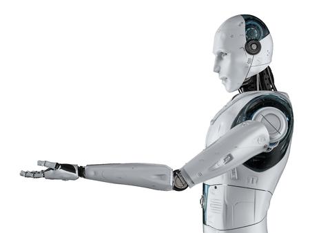 3d rendering humanoid robot open hands on white