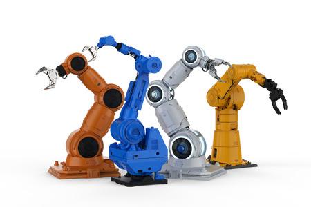 3d rendering four robotic arms on white 版權商用圖片
