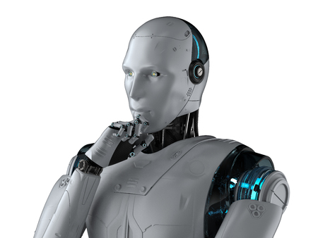 Automation analysis technology concept with 3d rendering cyborg think