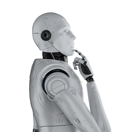 Automation analysis technology concept with 3d rendering cyborg think isolated on white