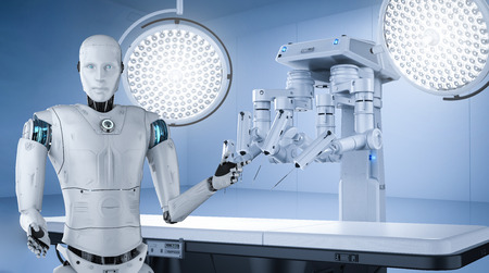 Medical technology concept 3d rendering robot surgery machine with cyborg and empty bed