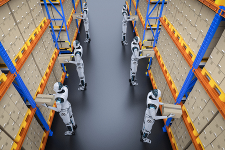 Automation warehouse concept with 3d rendering cyborg work in warehouse