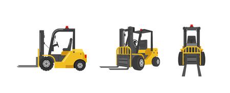 Forklift truck in three angles vector illustration Illustration