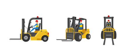 Forklift truck with worker driving isolated on white vector illustration