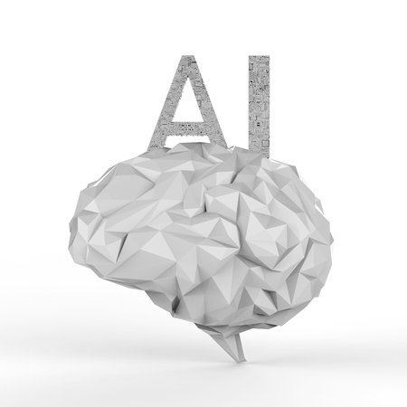 AI brain concept with 3d rendering polygonal brain with ai text