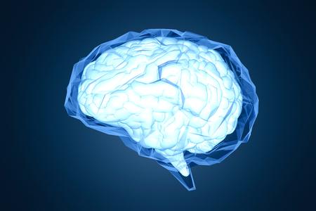 3d rendering shiny blue polygonal brain on dark blue background 스톡 콘텐츠