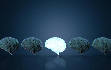 3d rendering shiny polygonal brain in dark brains