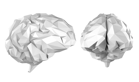 3d rendering grey polygonal brain isolated on white