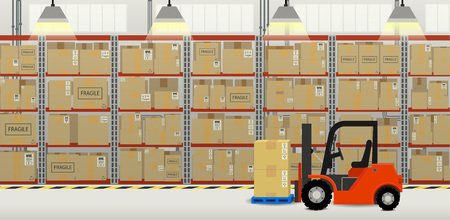 Forklift truck in distribution warehouse flat design vector illustration