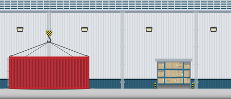 Warehouse exterior with container flat design vector illustration