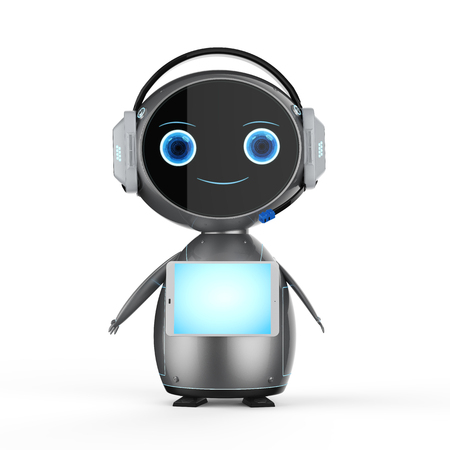 3d rendering cute assistant robot with tablet screen