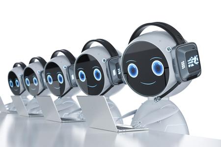 Concept de service client d'automatisation avec un robot humanoïde de rendu 3d fonctionnant avec un casque et un ordinateur portable