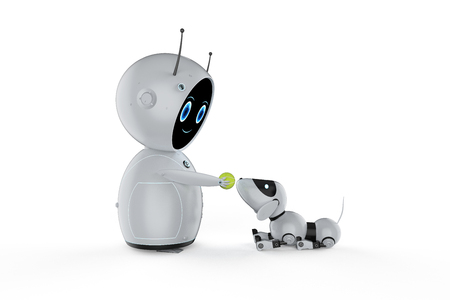 3d rendering cute artificial intelligence robot with dog robot Foto de archivo