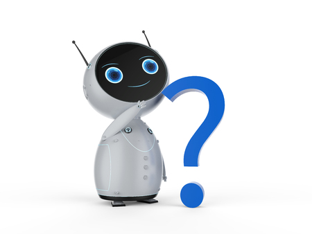 Automation customer support concept with 3d rendering  robot with question mark