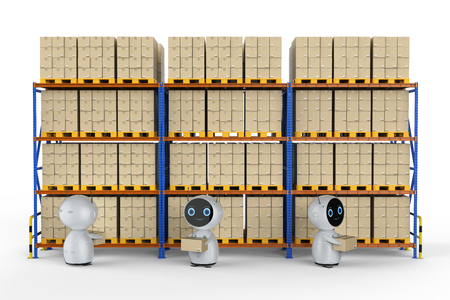 Automatic warehouse concept with 3d rendering automation robot work in warehouse