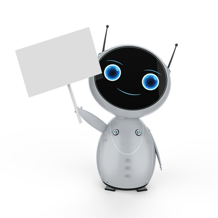 3d rendering cute robot with empty note