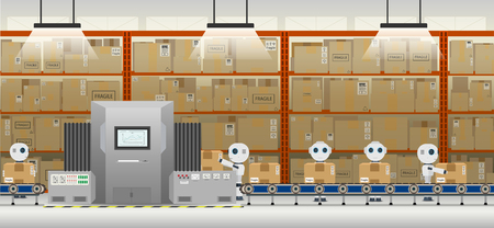 Automation factory concept with robot working flat design vector illustration Stock Illustratie