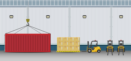 Warehouse exterior with container and forklift truck flat design vector illustration
