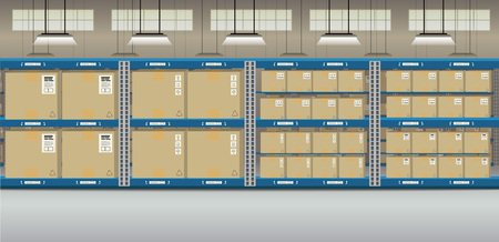 Warehouse interior with boxes on racks flat design vector illustration