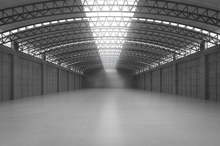 Representación 3d interior blanco y limpio fábrica vacía o almacén