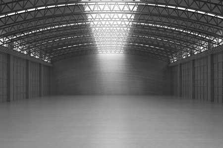 3d rendering interior white and clean empty factory or storehouse Foto de archivo
