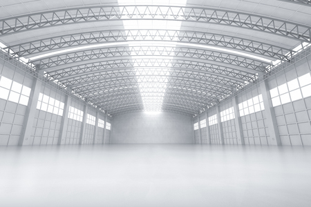 3d rendering interior white and clean empty factory or storehouse