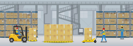 Warehouse interior with workers working flat design vector illustration Imagens - 123688795