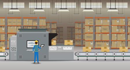 Processo di magazzino con il lavoro del lavoratore con illustrazione vettoriale di design piatto della macchina e del nastro trasportatore Vettoriali