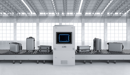 3d rendering scanner machine is scanning luggage in airport Imagens