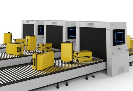 La macchina dello scanner di rendering 3D sta scansionando i bagagli in aeroporto