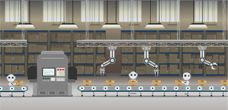 Automation factory concept with robot working flat design vector illustration Illustration