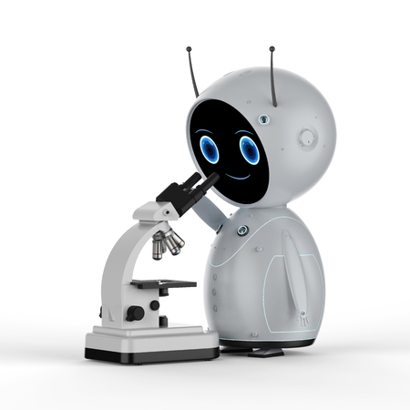 3d rendering robot working on microscope on white background