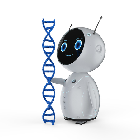 Genetic engineeering concept with 3d rendering robot with dna helix Фото со стока