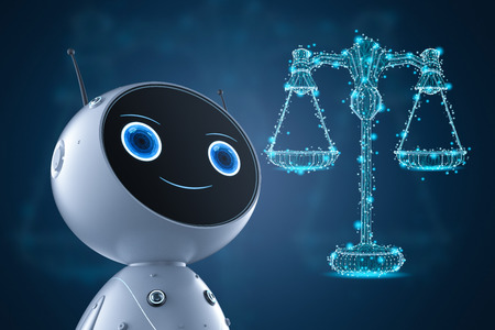 Cyber law or internet law concept with 3d rendering ai robot with law scale