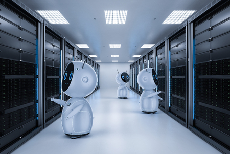 3d rendering robot working in server room
