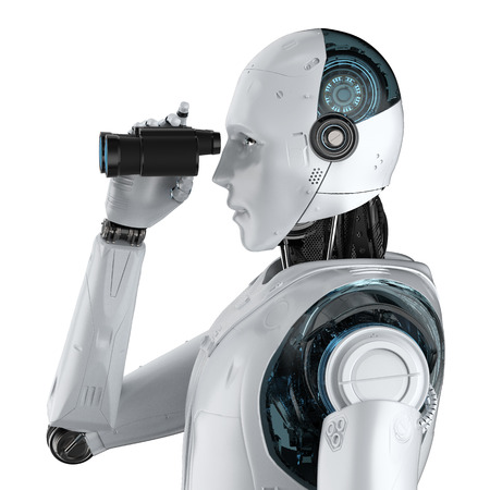 3d rendering robot with binoculars on white background