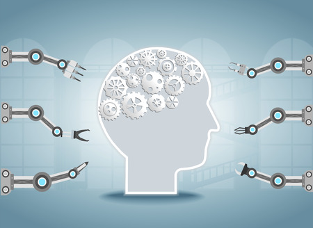 Smart factory concept with robotic arms and ai brain vector illustration