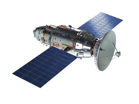 3D-Rendering Satellitenschüssel mit Antenne auf weißem Hintergrund white Standard-Bild