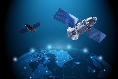 Koncepcja technologii telekomunikacyjnej z renderowaniem 3d połączenia anteny satelitarnej ze światową grafiką