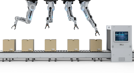 Automation industry concept with 3d rendering robot assembly line in  factory Imagens