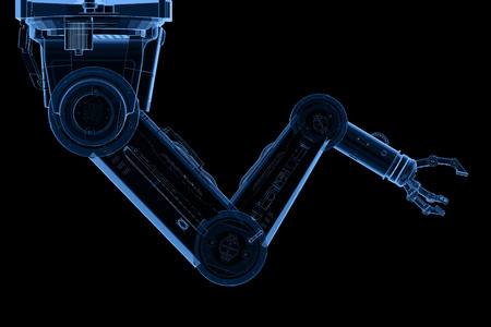 Automation factory concept with 3d rendering x-ray robotic arm isolated on black Stock Photo