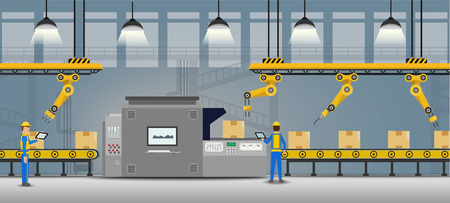 Automation factory concept with man control robot arms working flat design vector illustration